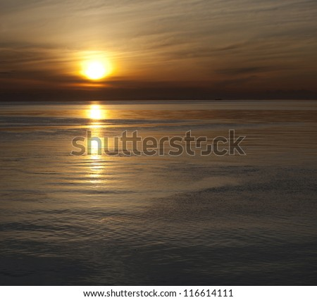 Sunset above the Pacific Ocean - stock photo