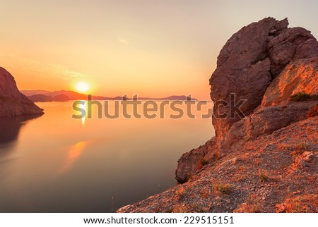 Sunset above the sea - stock photo