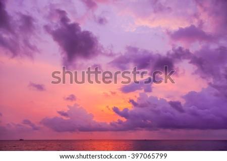 Sunset above the sea - stock photo