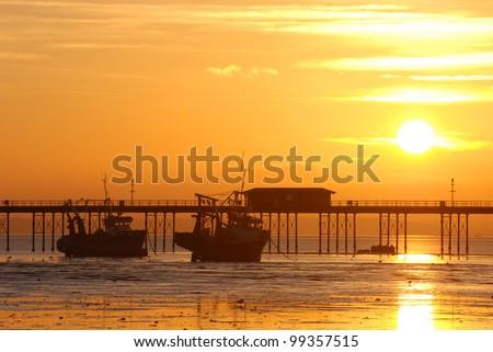 Sunset above the Southend Pier, Southend-on-Sea, England - stock photo
