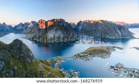 Sunset aerial panoramic view on stunning mountains of Lofoten islands, Norway - stock photo