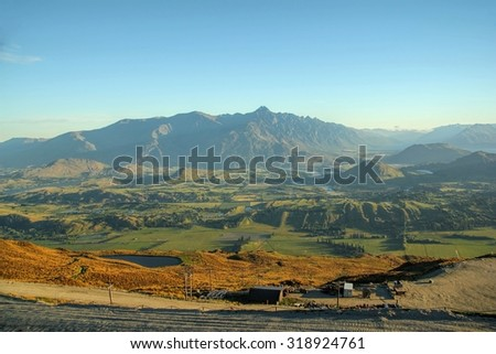 Sunset aerial view of queenstown, New Zealand - stock photo
