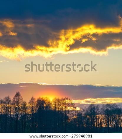 Sunset after a rain - stock photo