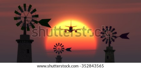 sunset, airplane and traditional windmill in Mallorca, Balearic Islands, Spain - stock photo