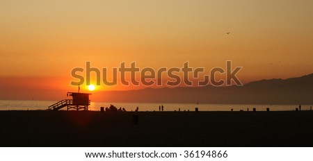Sunset Along the Sea in Venice Beach California - stock photo