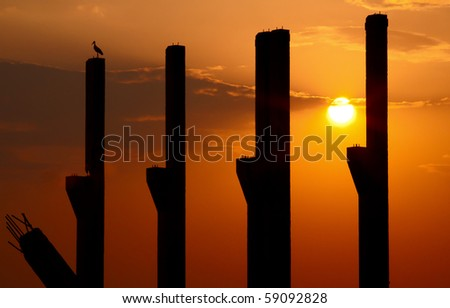 Sunset among pillars of an unfinished construction, with a stark sitting on the last pillar