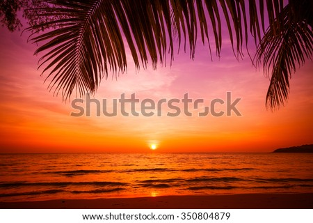 sunset and beach.  Beautiful sunset above the sea - stock photo
