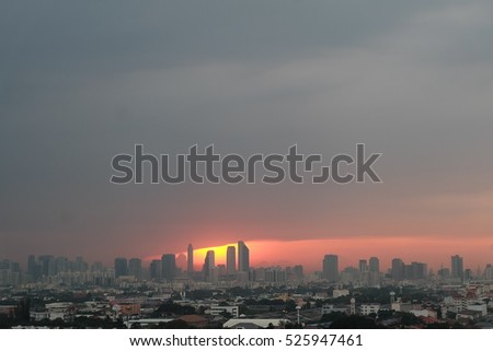 sunset and city scape background ,sky twilight