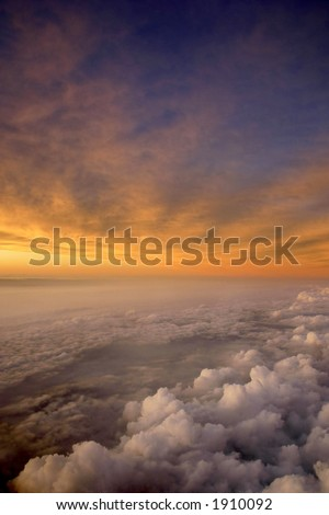 Sunset and clouds from the air