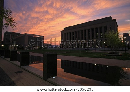 Sunset and courthouse