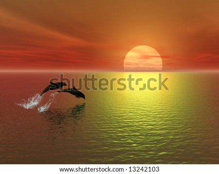 sunset and dolphins - stock photo