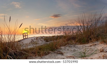 Sunset and dune grass in the foreground - stock photo
