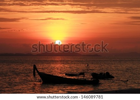 Sunset and fisherman's boats