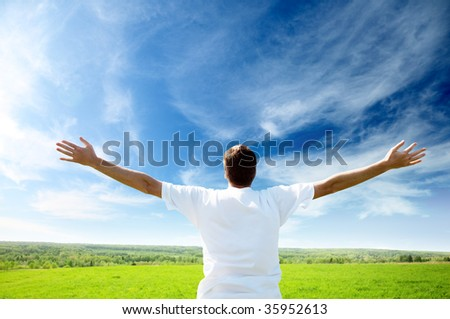 sunset and happy young man - stock photo