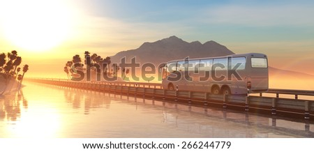 sunset and illustrations bus in tourist area - stock photo