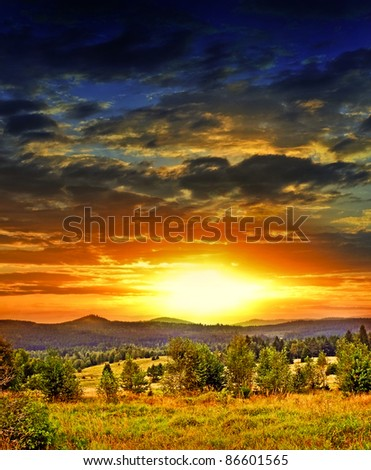 sunset and landscape - stock photo