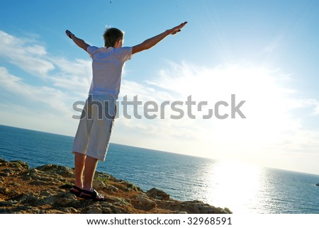 Sunset and man. Element of design - stock photo