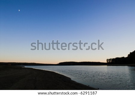 Sunset and Moon - stock photo