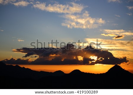 Sunset and mountain in Nan at Thailand