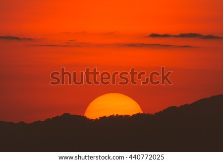 Sunset and mountains backgrounds - stock photo
