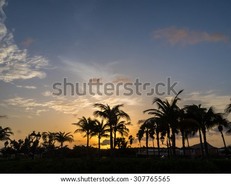 sunset and night views around Punda - Views around Curacao a small Caribbean Island in the ABC islands - stock photo