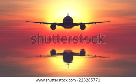 sunset and passenger plane  - stock photo
