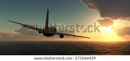 sunset and passenger plane in 3d - stock photo