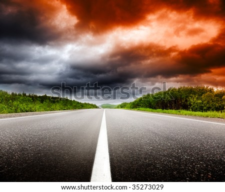 sunset and road - stock photo