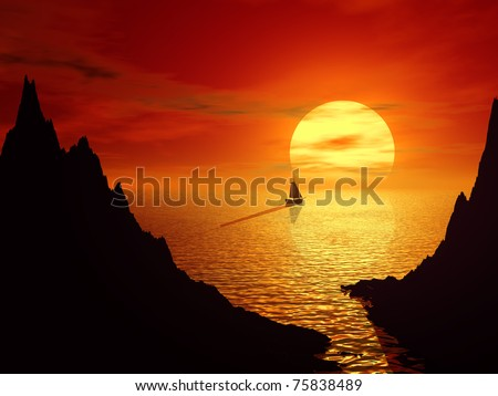 Sunset and sailboat in sea. 3d rendered landscape - stock photo