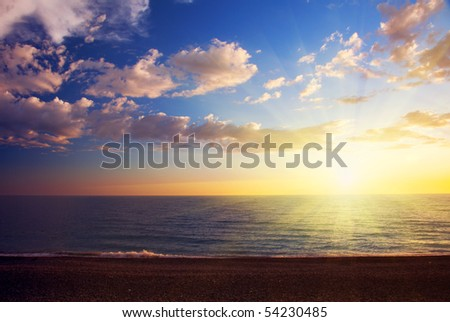 sunset and sea - stock photo