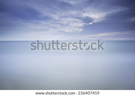 sunset and sea - Long exposure time - stock photo