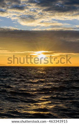 sunset and shadow sea