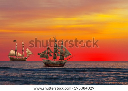 sunset and ship - stock photo