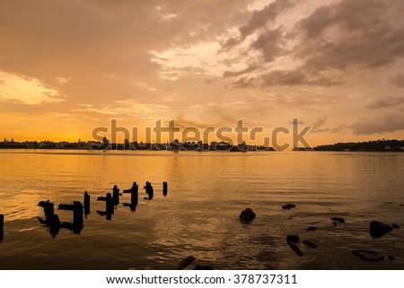 Sunset and skyline of the city of Havana. Cuba - stock photo