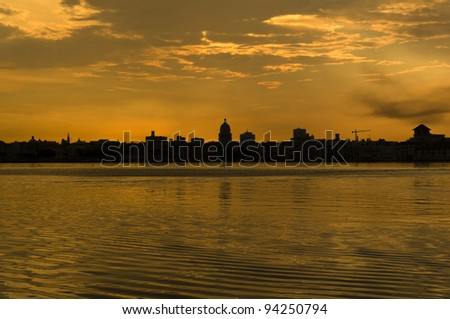 Sunset and skyline of the city of Havana. Cuba - stock photo