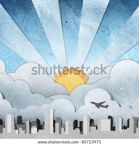 sunset and sunrise city panorama silhouettes recycled paper craft stick on grunge paper   background - stock photo