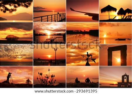 Sunset and sunrise collage  - stock photo