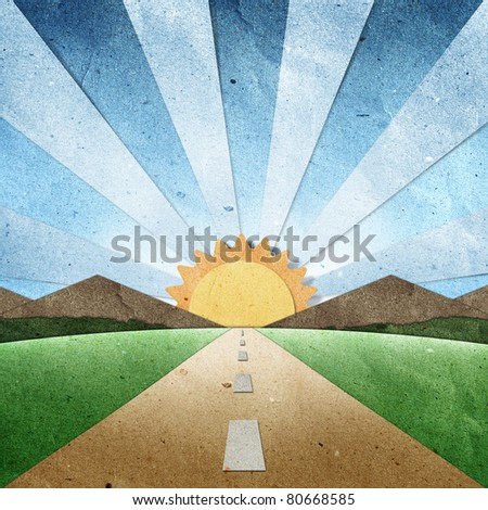 sunset and sunrise view recycled paper craft stick on grunge paper   background - stock photo