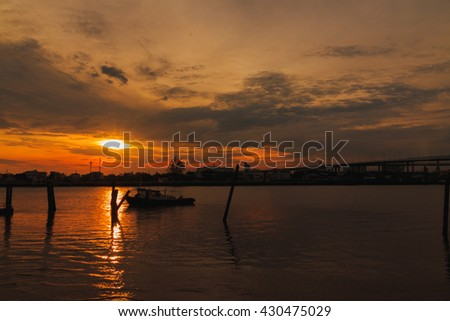 sunset and the clouds with boat in river