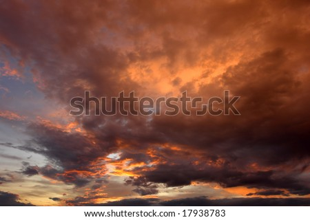 sunset and the orange clouds in the north of portugal