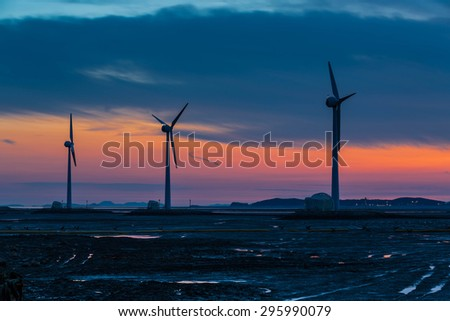 sunset and turbine