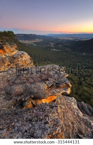Sunset and views over Megalong Valley from Blue Mountains NSW Australia - stock photo