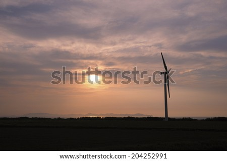 Sunset And Wind Power Generation