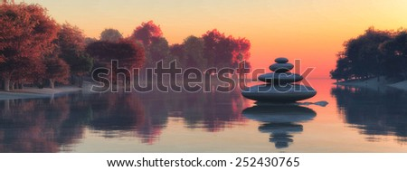 sunset and zen stones concept in 3d - stock photo