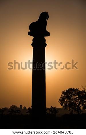 sunset Ashoka pillar at Kutagarasala Vihara, Vaishali, Bihar, India - stock photo