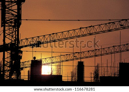Sunset at a construction site