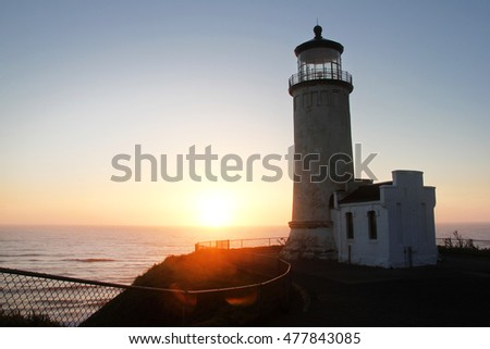 Sunset at a North Head Lighthouse bordering the State of Washington and Oregon