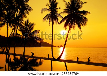 Sunset at a tropical beach in Koh Mak island, Thailand  - stock photo
