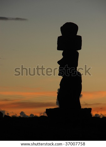 Sunset at Ahu Tahai, Easter Island, Chile - stock photo