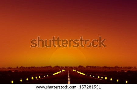 Sunset at Airplane Runway